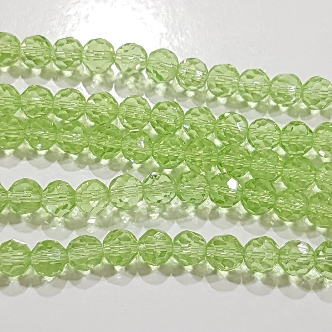 5mm Green Faceted Glass Beads