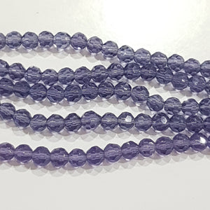 5mm Purple Faceted Glass Beads