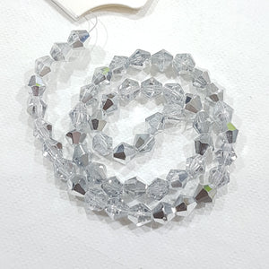 6mm Silver Glass Bicones