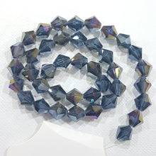 8mm Blue Grey AB Glass Bicones