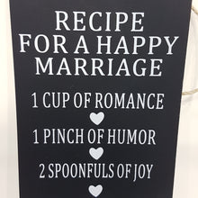 Recipe For A Happy Marriage Wall Art