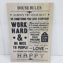 House Rules Hanging Sign