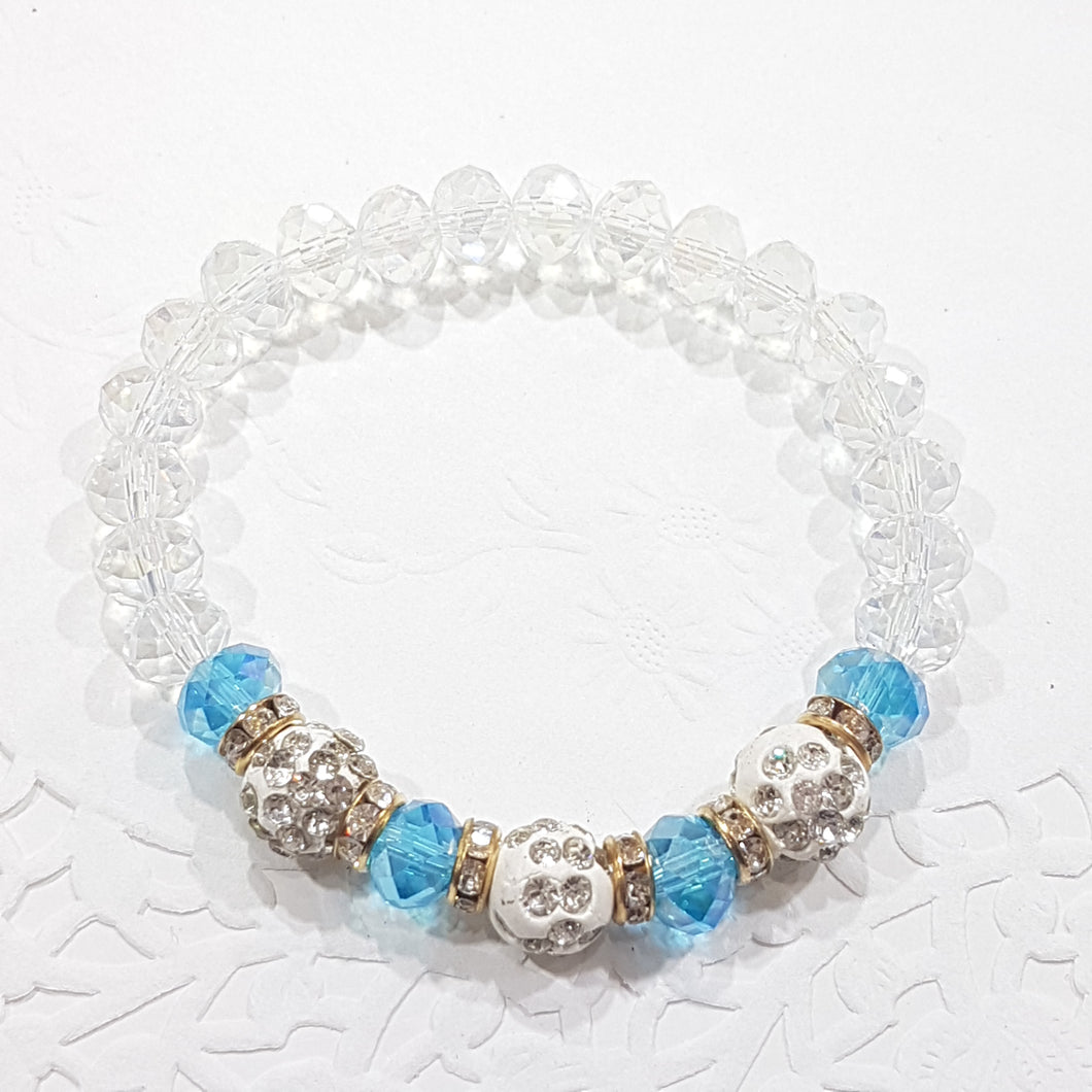 Blue Crystal Stretch Beaded Bracelet