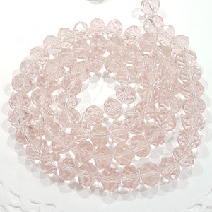 9x8mm Pink Crystal Rondelle Beads