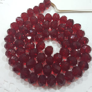 9x8mm Red Crystal Rondelle Beads