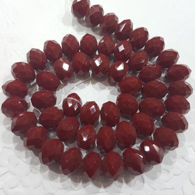 9x8mm Dark Red Crystal Rondelle Beads
