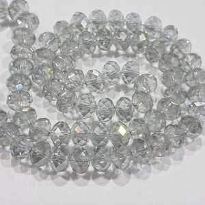 Light Grey AB Crystal Rondelle Beads