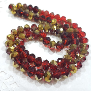 Red and Gold Crystal Rondelle Beads