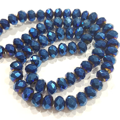 Blue Electroplate Crystal Rondelle Beads