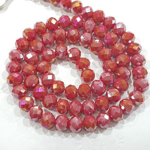 Red AB Crystal Rondelle Beads