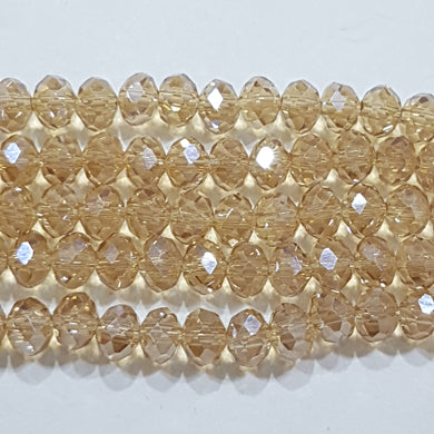 100pc Golden Crystal Rondelle Beads