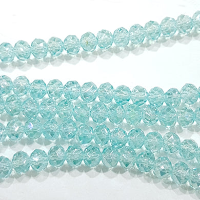 100pc Blue Crystal Rondelle Beads