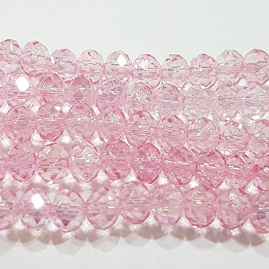100pc Pink Crystal Rondelle Beads