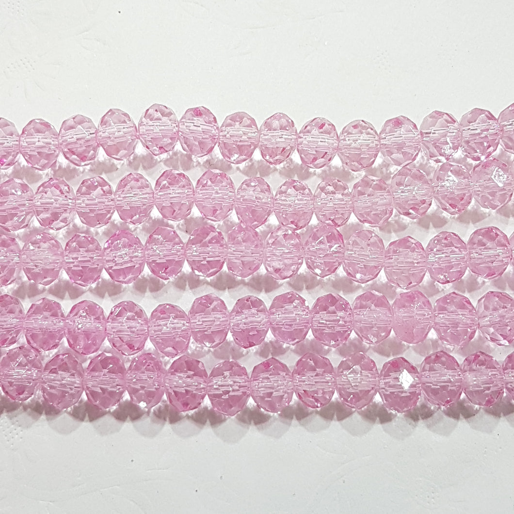 7x6mm Pink Crystal Rondelle Beads