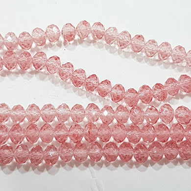 5x4mm Pink Crystal Rondelle Beads