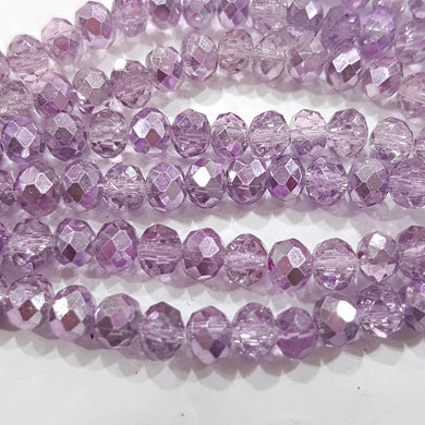 Electroplated Purple Crystal Rondelles