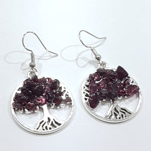Garnet Tree Of Life Earrings