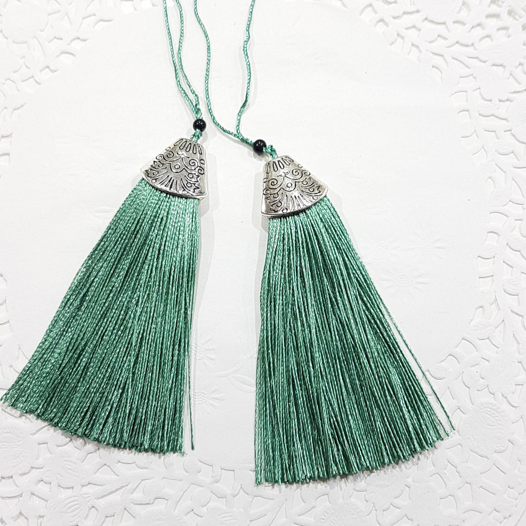 2pc Sea Green Tassels