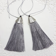 2pc Long Grey Tassels