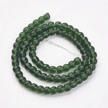 4mm Green Round Glass Beads