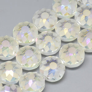 6pc Round Etched Crystal Glass Beads