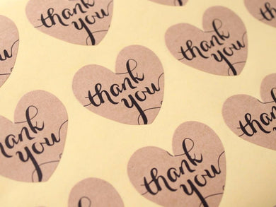 48pc Thank You Kraft Heart Stickers