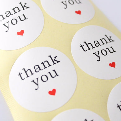 48pc White Thank You Stickers