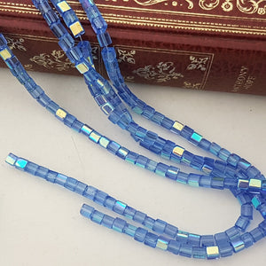 4mm Blue AB Glass Cube Beads