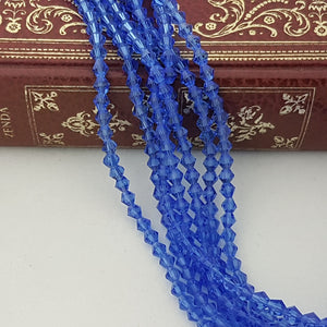 4mm Blue Crystal Glass Bicones