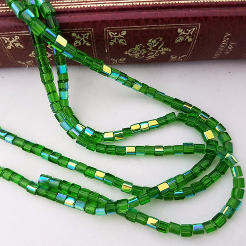 4mm Green AB Cube Glass Beads