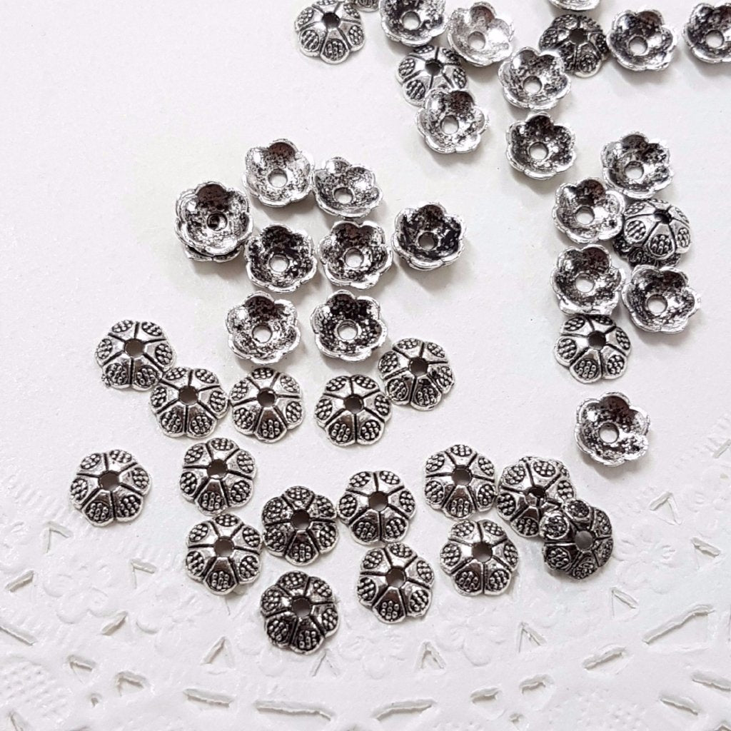50pc 6mm Antique Silver Bead Caps