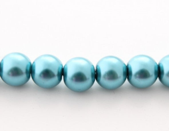 50pc 8mm Blue Glass Pearl Beads
