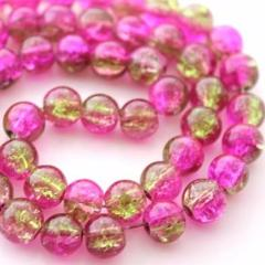 50pc 8mm Green and Fuchsia Crackle Beads