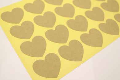50pc Blank Kraft Heart Stickers