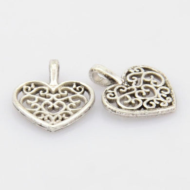 Silver Intricate Heart Charm