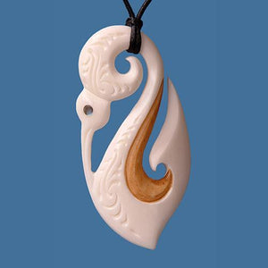 Bone Manaia with Koru and Hook Stained Pendant