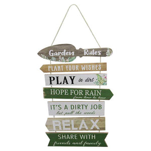 Garden Rules Hanging Sign