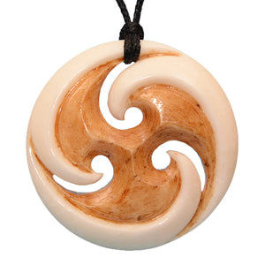 Bone Triple Koru Stained Necklace