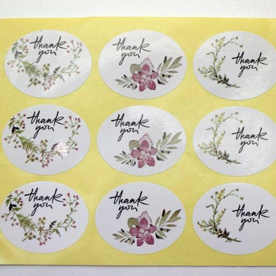 33pc Floral Thank You Stickers