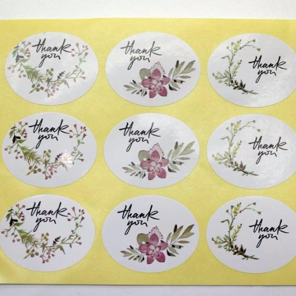 48pc Floral Thank You Stickers