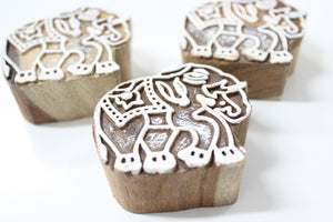 Elephant Indian Carved Block Stamp