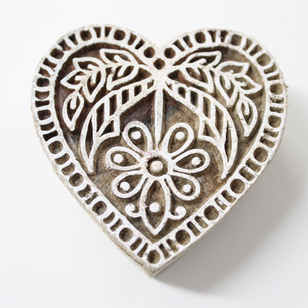 Heart Hand Carved Wooden Block Stamp