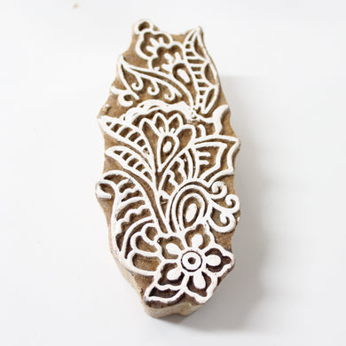 Floral Hand Carved Wooden Block Stamp