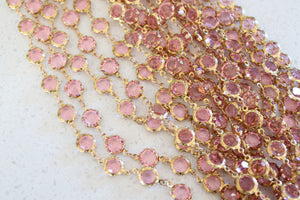Pink Glass Designer Linked Chain