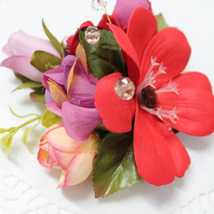 Red and Purple Floral Hair Clip
