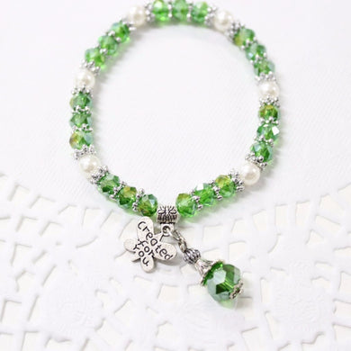 Green Crystal Beaded Stretch Bracelet