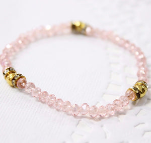 Pink Beaded Crystal Bracelet