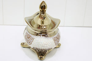 Pearl and Rhinestone Oval Lolly/Trinket Jar