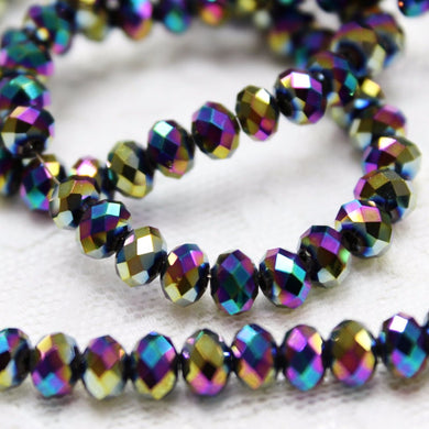 Rainbow Electroplate Crystal Rondelles
