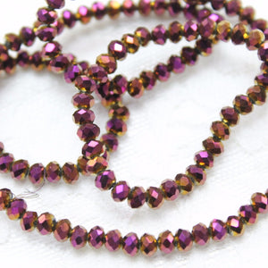 Fiery Purple and Gold Crystal Rondelles